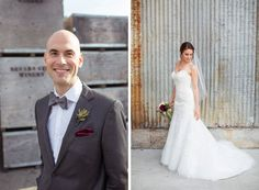 Groom in gray suit with red velver pocket square and bride in strapless wedding dress.