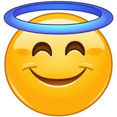 Vektor: Smiling face with halo emoticon emoji faces funny Angel Emoticon, Emoticon Faces, Funny Emoji Faces, Images Emoji, Emoji Pictures, Love Smiley, Emoji Love, Animated Emoticons, Funny Emoticons