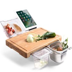Multifunction Bamboo Cutting Board With Food Storage Box Cool Kitchen Gadgets, Kitchen Hacks, New Kitchen, Cool Kitchens, Kitchen Decor, Kitchen Design, Walnut Bedroom Furniture, Kitchen Furniture, Kitchen Organization