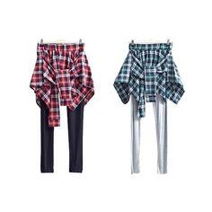 Inset Plaid Skirt Leggings ($17) ❤ liked on Polyvore featuring pants, leggings, elastic waist pants, cuff pants, slim pants, legging pants and white elastic waist pants