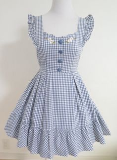 "larme-girl: ""Liz Lisa Blue Gingham Dress, available for purchase here! Kids Dress Wear, Kids Gown, Fancy Dress For Kids, Girls Dresses Sewing, Dresses For Tweens, Cute Girl Dresses, Cotton Frocks For Kids, Frocks For Girls, Baby Frocks Designs"