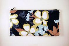 Dogwood Flower Zipper Pouch Make Up Bag Gadget Bag by HahnStitched
