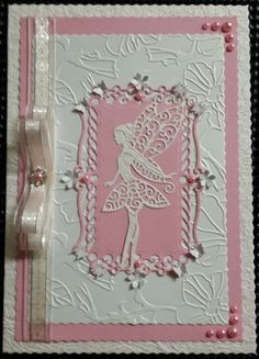 Lace Fairy with Butterflies, Ribbon and Pearls. Handmade by Diane Prinsloo (Lubbe). Girl Birthday Cards, Handmade Birthday Cards, Handmade Card Making, Handmade Cards, Unicorn Cards, Tattered Lace Cards, Easy Cards, Fairy Crafts, Homemade Christmas Cards
