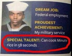 My special talent is cooking minute rice in 58 seconds! Yeah i'm pretty proud lol!