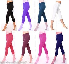 Womens Cropped Summer Cotton Leggings 3/4 Length All Sizes 8-24