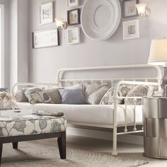 Kingstown Home Laroche Metal Daybed - Guest room. White Daybed, Bedroom Furniture, Bedroom Decor, Dream Furniture, Cabin Furniture, Decor Room, Furniture Decor, Bedroom Ideas, Daybed Room