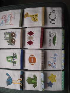 A Dozen of Burp Cloths Diy Embroidery Machine, Baby Embroidery, Embroidery Monogram, Machine Applique, Machine Quilting, Embroidery Patterns, Burp Cloth Diapers, Baby Burp Cloths, Burp Rags