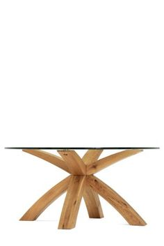 Solid Oak And Glass Coffee Table