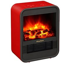 PuraFlame Clara Red 9 inch Mini Portable Fireplace Heater, Adjustable Thermostat Easy Mobility Ultra Safe with Tip Over and Overheating Protection, Portable Electric Fireplace, Portable Electric Heaters, Portable Space Heater, Recessed Electric Fireplace, Best Electric Fireplace, Electric Fireplace Heater, Electric Stove, Stove Heater, Italia