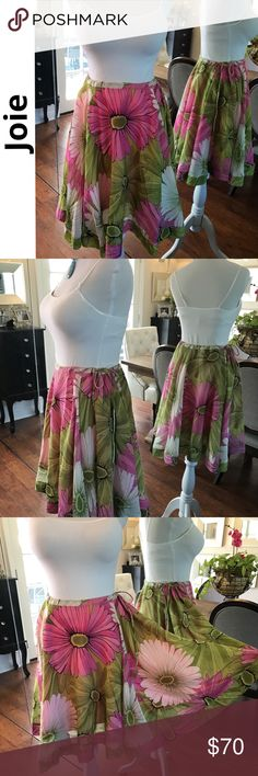 JOIE Silk floral flowy full skirt Light & soft silk floral skirt is so fun to wear! Side drawstring waistband, wear at waist or wear it lower. Cotton underskirt: note there are two very small light marks on the underskirt when it came back from the cleaners, does not affect function or look, must scrutinize to see! Tag says size 4 but 0-2 can wear it too due to the drawstring, this skirt's fit is more dependent on waist size. 27%silk/78%cotton. Approx measurements laying flat: waist w/no…