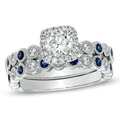 1 CT. Certified Diamond + Sapphire Bridal Set in 14K White Gold