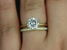 This is it! Skinny Webster 14kt Yellow Gold FB Moissanite and by RosadosBox