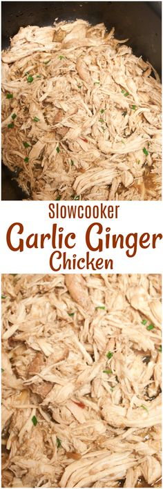 Slow Cooker Garlic Ginger Chicken is so easy! Use the crockpot to make and then serve the Slow Cooker Garlic Ginger Chicken over garlic rice! Easy dinner!