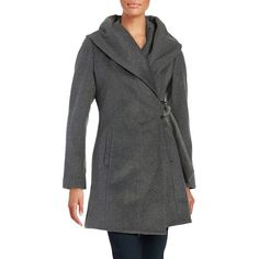 French Connection Wool-Blend Wrap Coat ($112) ❤ liked on Polyvore featuring outerwear, coats, charcoal, wool blend coat, asymmetrical coat, french connection, long sleeve coat and hooded coat