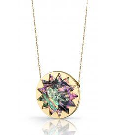 House of Harlow Sunburst Necklace Abalone Shell