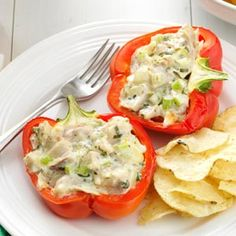 Chicken-Salad-Stuffed-Peppers - would be great for lunch!
