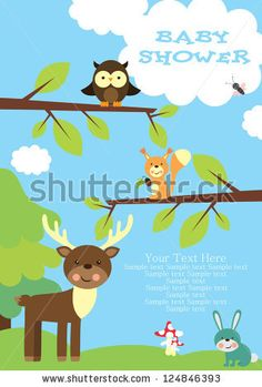 baby shower. forest friends. vector illustration by kearia, via ShutterStock
