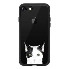 Cute Cat - Grey, black and white cat for cat ladies and cat people... ($40) ❤ liked on Polyvore featuring accessories, tech accessories, phone case, cat, iphone, iphone case, transparent iphone case, iphone cases, apple iphone case and cat iphone case