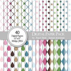 SALE 40 Digital Paper Pack Dot raindrop Scrapbooking by rueastyle