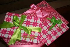 Pink and Green Christmas wrapping paper, invites and/or thank you cards