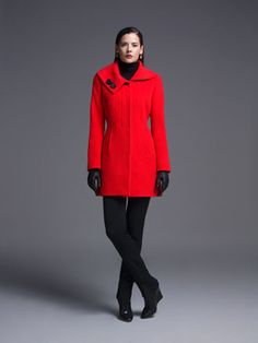 A bright red coat to warm up the mood on those cold winter days!