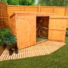 BillyOh 300 Pent Tongue and Groove Bike Store Mini Shed - Wooden Sheds
