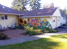 flower mural, house exterior mural, home mural, custom mural, portland mural Garden Fence Art, Garden Mural, Door Murals, Mural Art, Wall Mural, Outdoor Walls, Outdoor Living, Flower Mural, Backyard Sheds