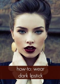 Tips to Rocking Dark Lips This Fall Dark vintage lipstick, love this for fall! : Pin Up Girl Makeup :: Dark Lipstick:: Retro makeupDark vintage lipstick, love this for fall! : Pin Up Girl Makeup :: Dark Lipstick:: Retro makeup All Things Beauty, Beauty Make Up, Hair Beauty, Makeup Products, Makeup Tips, Makeup Ideas, Makeup Trends, Beauty Products, Natural Products