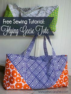 The Flying Geese Tote ... um saco moderno tutorial - SewCanShe | Diária Grátis Costura Tutoriais