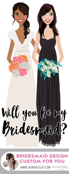 Will You Be My Bridesmaid | Bridesmaid Invitation | Maid of Honor Invitation | Wedding Invite | Guest | Custom Personalized Invitation | Blue Bridesmaid Dress | Mermaid Wedding Dress Designed by Lauren Lesley Studio. All rights reserved.
