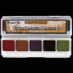 PPI Fleet Street Pegworks Tooth Lacquer Palette creates rotting, decaying, tobacco stained, bloody and zombie teeth instantly for any stage makeup or SFX design! Cinema Makeup School, Makeup Set For Beginners, Face Paint Makeup, Sfx Makeup, Fleet Street, Mascara Wands, Special Effects Makeup, Makeup Palette, Professional Makeup