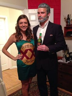 The most interesting man and a Dos Equis bottle for halloween! Fun couple costume!