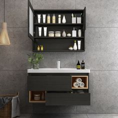 wall mounted bathroom vanity cabinet with medicine cabinet, ceramic basin, black cabinet case, more storage function, shelf inside Bathroom Wall Decor, Bathroom Flooring, Bathroom Interior, Bathroom Ideas, Design Bathroom, Bathroom Renovations, Bathroom Storage Units, White Bathroom Cabinets, Black Cabinets
