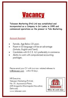 Teleseen Marketing (Pvt) Ltd is seeking candidate for Account Assistant position.