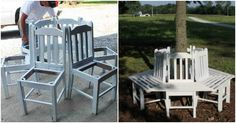 Creative Ideas – How to Build a Bench Around a Tree Using Old Kitchen Chairs