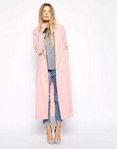 NEED this pink coat from @asos!  -> Mooi voorbeeld van goed communicatief gebruik pinterest. Iedereen weet meteen dat de jurk afkomstig is van ASSOS, er wordt gebruik gemaakt van een knap model. Sterk communicatie gericht op meisjes.  URL: https://nl.pinterest.com/pin/285063851390097445/