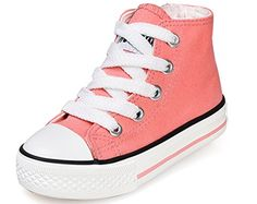 VECJUNIA Girls Lovely Lace-Up Side Zipper Nonslip High-Top Canvas Sneakers Pink 11 M US Little Kid *** Be sure to check out this awesome product.