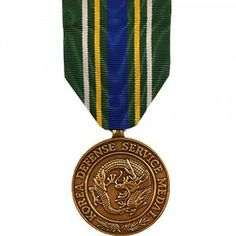 The Korea Defense Service Medal is a decoration presented by the United States Armed Forces to individuals who served in the Korean Theater after July 28, 1954, following the signing of the Korean Armistice Agreement. To be eligible, service members must have served at least 30 consecutive or 60 cumulative days in the Korean Theater.