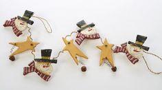$17.97-$23.97 Set of 3 Rustic Wooden Snowmen & Star Garlands
