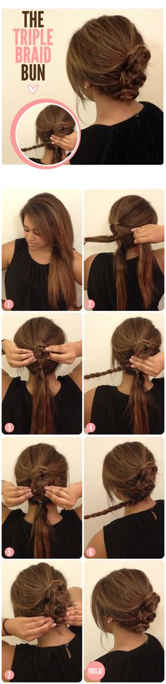 THE TRIPLE BRAID BUN - Top 15 Easy-To-Make Braids Tutorials