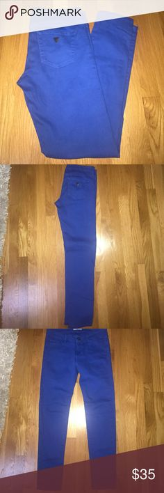 Guess Cobalt Blue Jeans Size 28, Worn once. Still has its vibrant coloring. Very comfortable jeans that you can dress up for a night out. It dress down for everyday use! Willing to negotiate a price! Guess Jeans Skinny