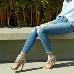 Love the look of these jeans with the fringe heel. #ShoeDazzle