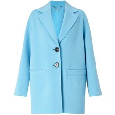 Marella Marte Double Faced Cocoon Coat, Turquoise (£435) ❤ liked on Polyvore featuring outerwear, coats, long sleeve coat, marella, collar coat, blue coat and reversible coats