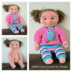 Crochet doll / Háčkovaná bábika Crochet Dolls, Crochet Projects, Teddy Bear, Toys, Puppets, Toy, Games, Crochet Doilies