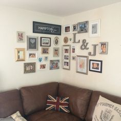 Our new gallery wall! So pleased with how it turned out, I just have to find some cute prints to fill the blank frames