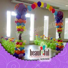 Rainbow Garden Balloon Arch for birthday parties Balloon Backdrop, Balloon Columns, Balloon Decorations, Balloons And More, Colourful Balloons, Balloons Galore, Rainbow Garden, Balloon Arrangements, Lalaloopsy Party
