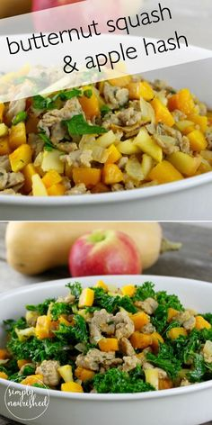 Butternut Squash & Apple Hash with Sausage || a recipe for you to enjoy for breakfast, lunch or dinner!  http://simplynourishedrecipes.com/butternut-squash-and-apple-hash-with-sausage/ #paleo #grainfree #whole30