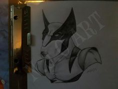 Wolverine english bull terrier dog style by Nathan Cartrights Art. WOW would make a great tattoo!