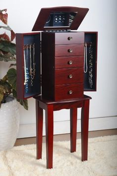 Cherry Jewelry Armoire Chest $74.95 (save $74.05) + Free Shipping