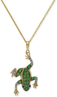 Gemma by EFFY Tsavorite (1/3 ct. t.w.) and Diamond Accent Frog Pendant in 14k Gold